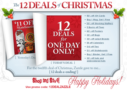 Save BIG for the 12 Deals of Zazzle at our many Zazzle Christmas Gift Shops